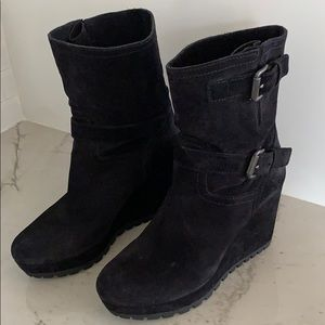 Prada black suede wedge booties